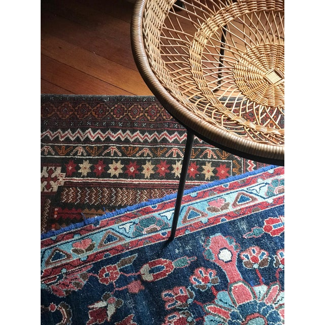 1950s Mid Century Modern Rattan Wicker and Wrought Iron Catch All Standing Basket For Sale In Seattle - Image 6 of 7