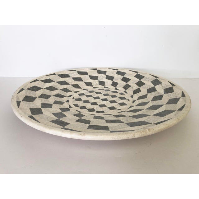 Boho Chic Large Vintage Tessellated Stone Platter For Sale - Image 3 of 11