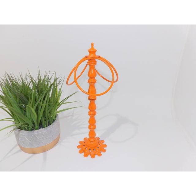 Vintage Orange Metal Hand Towel Holder For Sale - Image 4 of 7