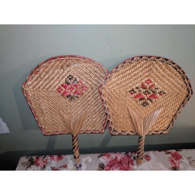 Vintage Thai Woven Straw Bamboo Hand Fans - a Pair For Sale - Image 9 of 9
