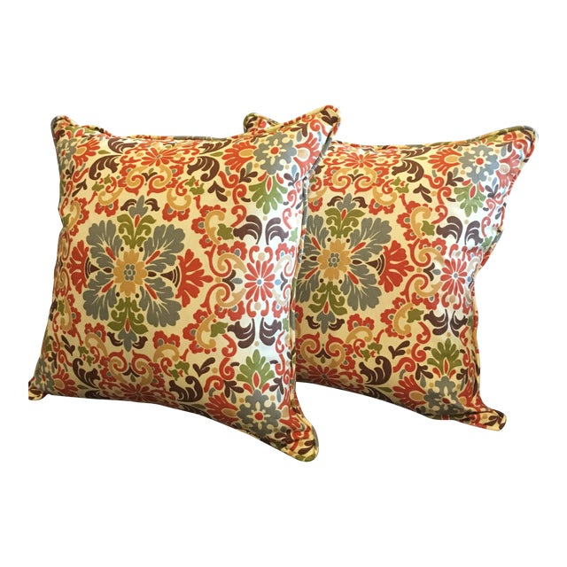 Folk Damask Terracotta Decorative Pillows - A Pair For Sale