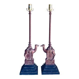 Vintage Boho Chic Camel Lamps - a Pair For Sale