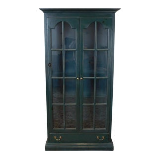 1990s Painted Green Pine Double Door Lighted Curio Cabinet