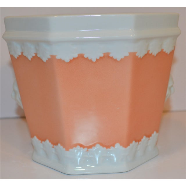 Ceramic Vintage Apricot & White Mottahedeh Porcelain Cachpot For Sale - Image 7 of 9