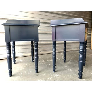 C F Kent Furniture High Gloss Lacquered Navy Blue / End Tables - a Pair Preview