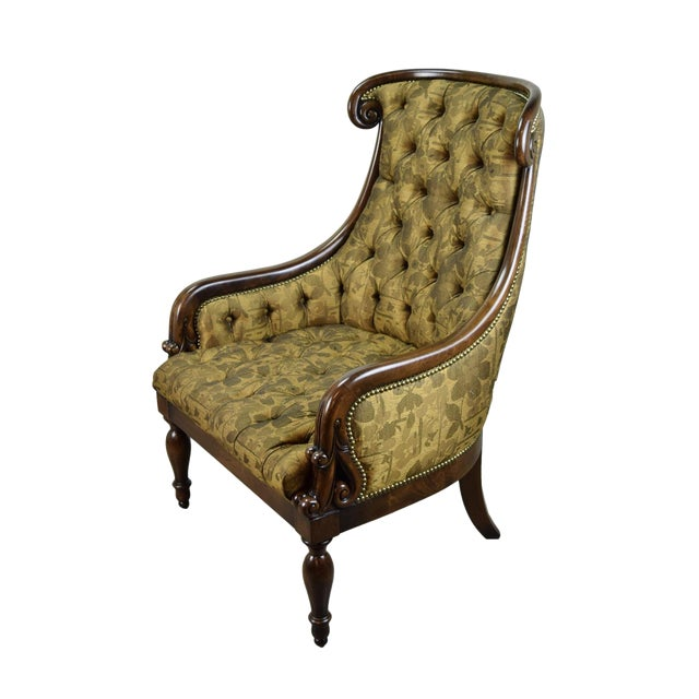 1990s Traditional William Switzer Hand Carved Lounge Chair For Sale