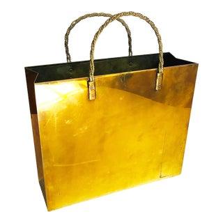 Vintage Brass Shopping Bag Magazine Rack For Sale