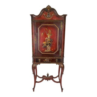 Vintage Asian Red Painted Cabinet on Stand For Sale