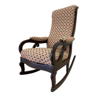 Pink and Brown Upholstered Antique Mahogany Empire Rocking Chair For Sale