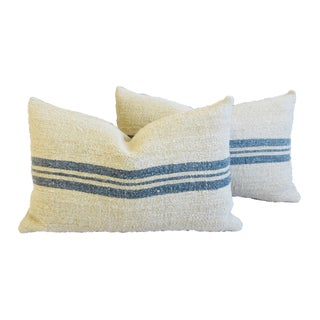 "Custom Blue-Gray Striped French Grain Sack Feather/Down Pillows 24"" X 15"" - Pair"