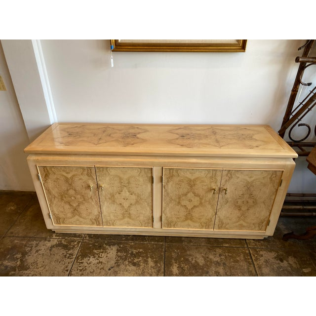 Mid-Century Modern Blonde Burled Wood Credenza For Sale - Image 12 of 12
