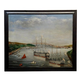 """19th Century j.h. Tayler """"Hms Implacable"""" Naive British Naval Oil Painting For Sale"""