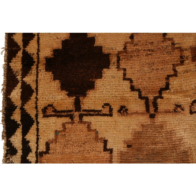 Rug & Kilim Antique Gabbeh Rug Tribal Beige Brown Hand-Knotted Persian Diamond Pattern For Sale - Image 4 of 6