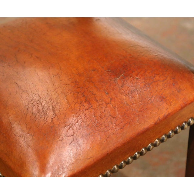 19th Century French Carved Oak and Tan Leather Dining Chairs - Set of Six For Sale - Image 10 of 13