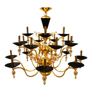 3 Tier Crystal and Brass Chandelier by American Lighting Fixture - Wilshire Manufacturer For Sale