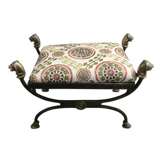 Iron Bench With Ram Heads & Medallion Fabric For Sale