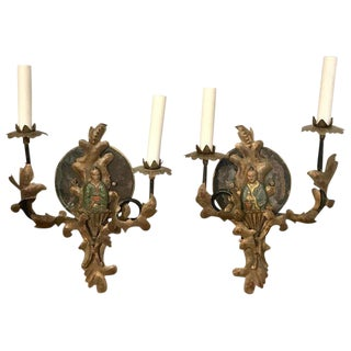 Pair of 19th Century Chinoiserie Polychromed Tole Sconces, Now Electrified For Sale