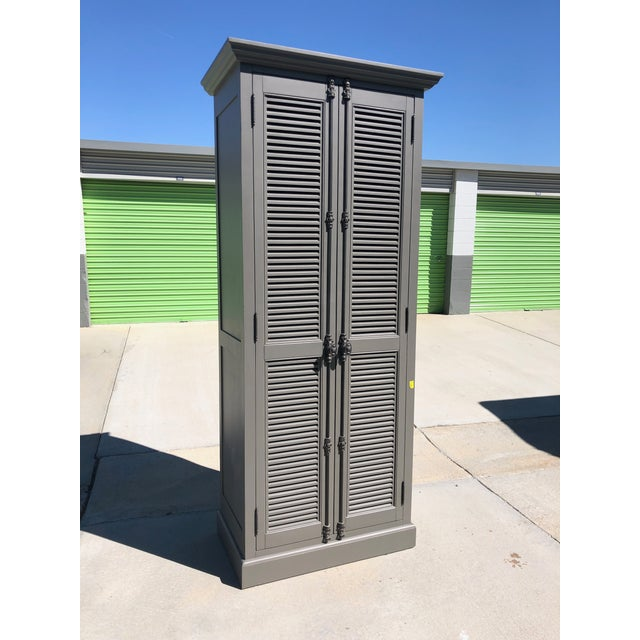 Gray Restoration Hardware French Casement Cabinet For Sale - Image 8 of 8