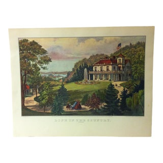 "Currier & Ives American Print, ""Life in the Country"" by Crown Publishers, Circa 1950 For Sale"
