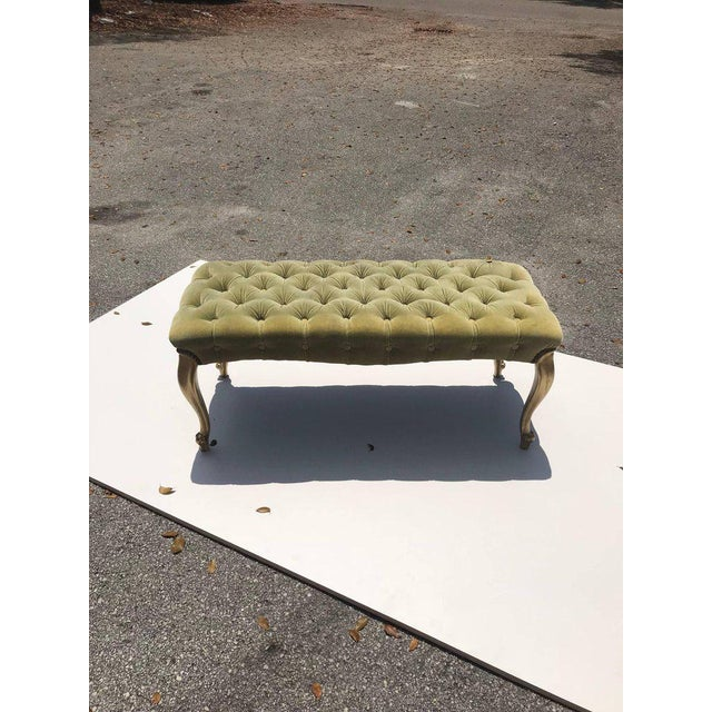 Green French 19th Century Louis XV Benches With Green Velvet. For Sale - Image 8 of 13