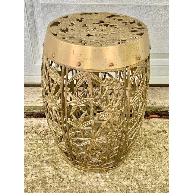 Vintage Brass Faux Bamboo and Fretwork Design Garden Stool For Sale - Image 13 of 13