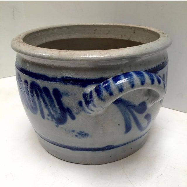 Country Vintage German Blue Salt Glazed Crock For Sale - Image 3 of 9
