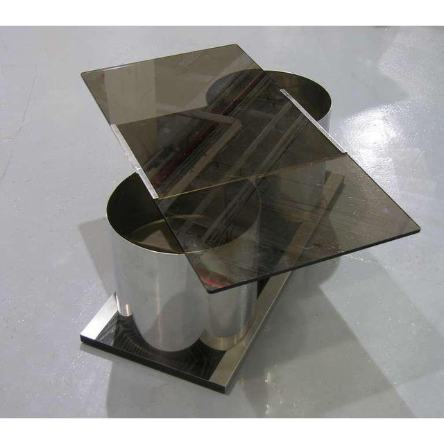 Mid-Century Modern 1970s Italian Smoked Glass Coffee Table With Dry Bar For Sale - Image 3 of 8