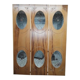 1940's Hollywood Regency Iron and Wood Folding Screen For Sale