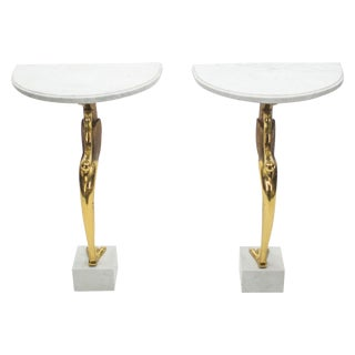 Rare Hollywood Regency Pair of Brass Marble Console Tables Robert Thibier 1970s For Sale