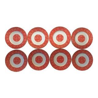 Coalport Chinoiserie Fretwork Red Salad Plates - Set of 8