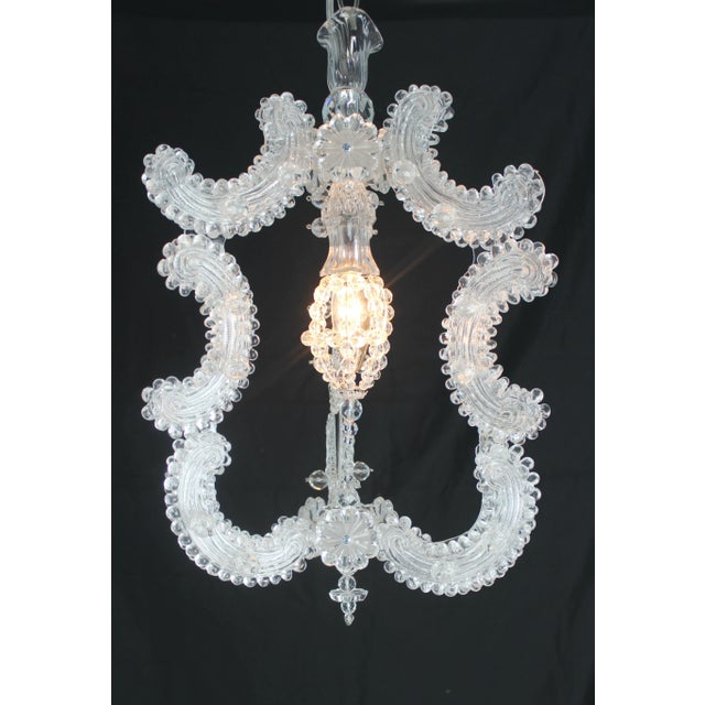 Beautiful Vintage Venetian Glass Lantern. All venetian glass with crystal rosettes and faceted beads. The interior frame...