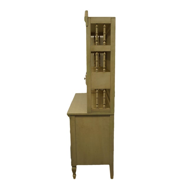 Wood French Provincial Dixie Furniture Cream Painted Double Dresser with Bookcase Hutch For Sale - Image 7 of 11