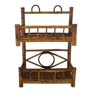 Vintage Boho Chic Bamboo Shelf For Sale