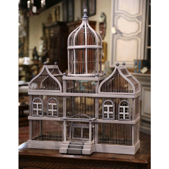 Early 20th Century French Carved and Painted Wooden and Wire Birdcage For Sale - Image 4 of 10