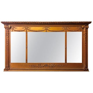 Antique Louis XVI Style Carved Gilt Wood Over the Mantel or Console Mirror For Sale