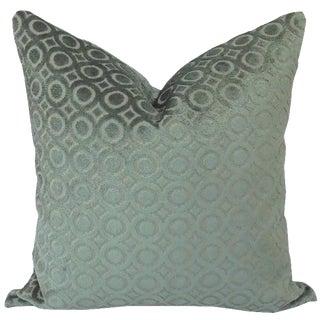 "F. Schumacher Deco Velvet in Blue Haze Pillow Cover - 20"" X 20"" For Sale"