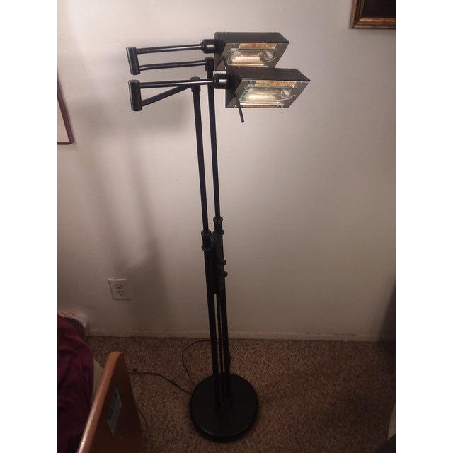 1980's Mid-Century Modern LIte Source Two Arm Floor Lamp For Sale - Image 4 of 9