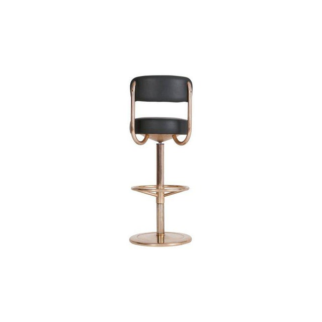 """Gold-plated and Green leather """"Jupiter"""" barstools, designed by Börge Johansson, produced by Johansson design in Markaryd,..."""