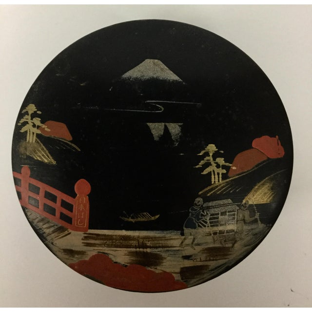 Lacquer Vintage Mid-Century Modern Lacquer Coaster Set - Set of 5 For Sale - Image 7 of 11