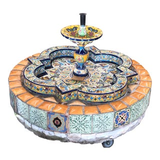 1910s Vintage Spanish Style Tile Fountain For Sale