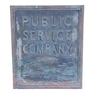 """1900s Vintage """"Public Service Company"""" Bronze Sign For Sale"""