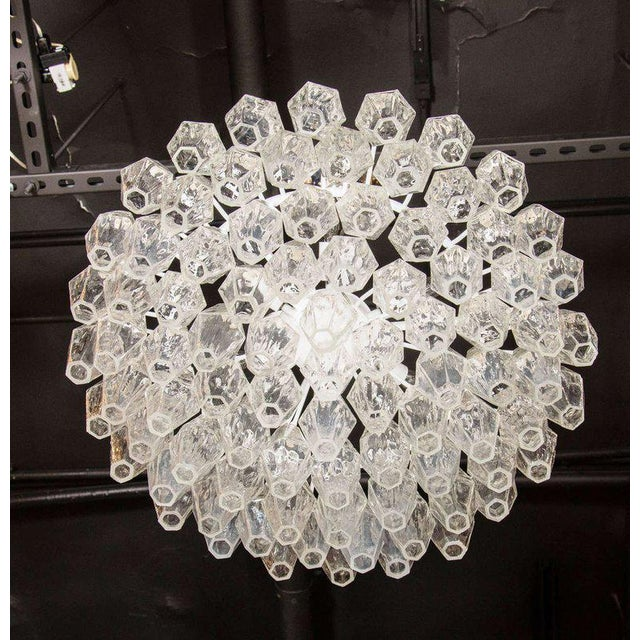 Modernist Handblown Translucent Murano Glass Polyhedral Chandelier For Sale In New York - Image 6 of 8