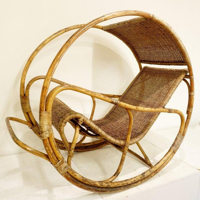 1960s Rattan and Wicker Circle Rocking Chair, 1960s For Sale - Image 5 of 7