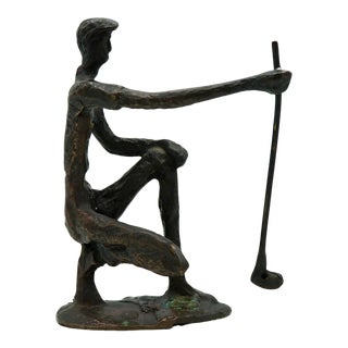 Vintage Bronze Golfer on the Green Sculpture For Sale