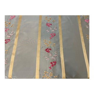 Vintage Embroidered Silk Ribbon Striped Taffeta Fabric - 3 3/4 Yards For Sale