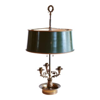 Vintage French Bouillotte Lamp With Green Tôle Drum Shade For Sale