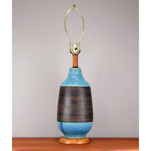 Blue Huge Aldo Londi for Bitossi Ceramic Table Lamp For Sale - Image 8 of 11