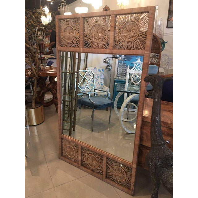 Bamboo Rattan Boho Tropical Palm Beach Bamboo Oversized Wall Mirror For Sale - Image 7 of 11