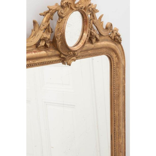Giltwood French 19th Century Ornately Carved Giltwood Over-Mantle Mirror For Sale - Image 7 of 13