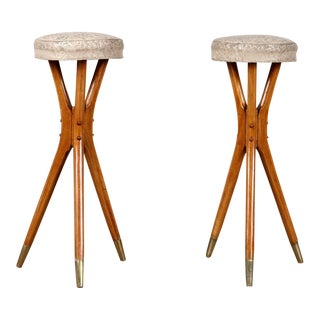 Studio Crafted Bar Stools With Tripod Legs- a Pair For Sale